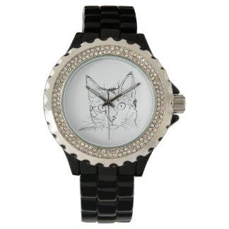 Diseños del gato en los relojes de señoras