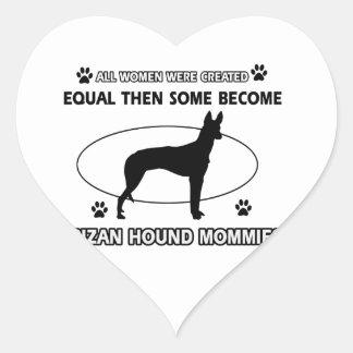 Diseños del perro de caza de Ibizan Calcomanía Corazón Personalizadas