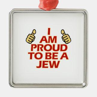 Diseños religiosos del judío adorno cuadrado plateado
