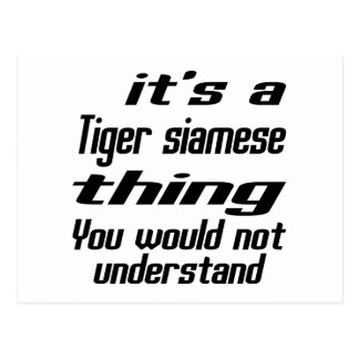 Diseños siameses de la cosa del tigre postal