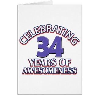 diseños y regalos del cumpleaños de 34 años tarjeta