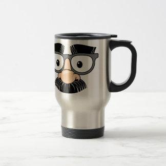Disfraz torpe del bigote y de los vidrios taza de viaje de acero inoxidable