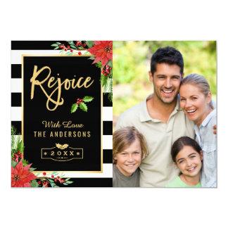 Disfrute la foto floral del Poinsettia de las Invitación 12,7 X 17,8 Cm
