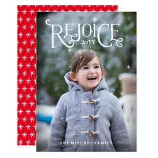 Disfrute la tarjeta de Navidad puesta letras mano Invitación 12,7 X 17,8 Cm