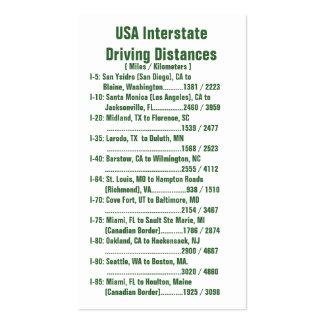 Distancias de conducción de un estado a otro de tarjetas de visita