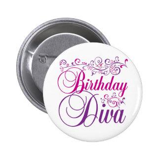 Diva del cumpleaños chapa redonda de 5 cm