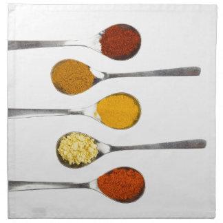 Diversas especias del condimento en las cucharas servilleta de tela