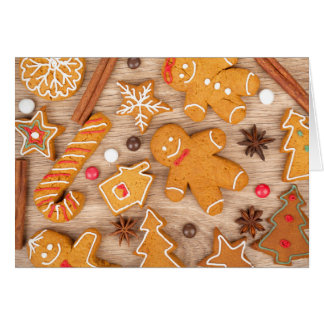 Diversas galletas hechas en casa del pan de tarjeta de felicitación
