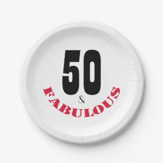 Diversión 50 y placa de papel fabulosa de la plato de papel