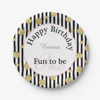 """Diversión a ser un cumpleaños 7"""" placa del fiesta plato de papel"""