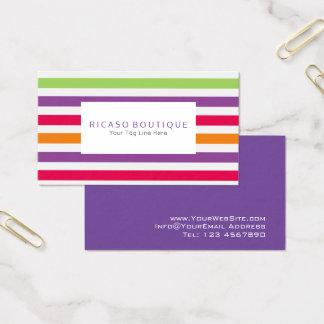 Diversión colorida brillante moderna rayada tarjeta de visita