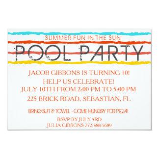 Diversión de la fiesta en la piscina del verano en invitación 8,9 x 12,7 cm