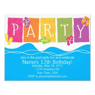 Diversión de la fiesta en la piscina invitación 10,8 x 13,9 cm