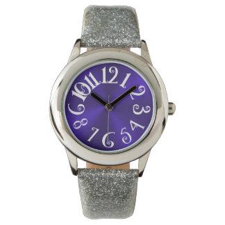Diversión de PixDezines+acero radial/falso violeta Reloj