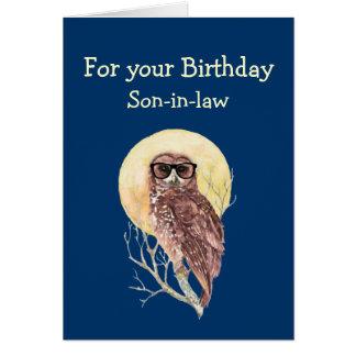 Diversión del búho del cumpleaños del humor del tarjeta de felicitación