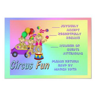 Diversión del circo invitación 8,9 x 12,7 cm