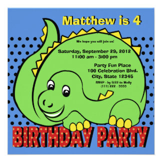 Diversión del cumpleaños del dinosaurio invitacion personalizada