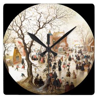 Diversión del invierno de la nieve en el reloj de