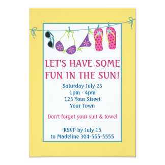 Diversión en cumpleaños de la fiesta en la piscina invitación 12,7 x 17,8 cm