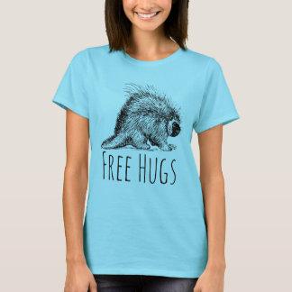 Diversión fresca y puerco espín libre divertido de camiseta