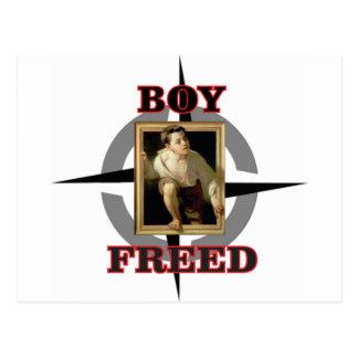diversión liberada muchacho del arte postal