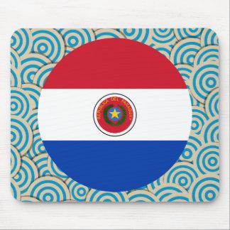 Diversión llenada, bandera redonda de Paraguay Alfombrilla De Ratón