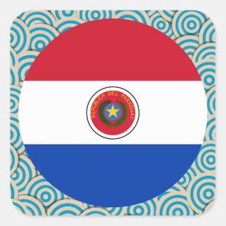 Diversión llenada, bandera redonda de Paraguay Pegatina Cuadrada