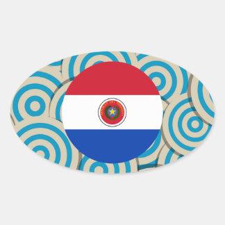 Diversión llenada, bandera redonda de Paraguay Pegatina Ovalada