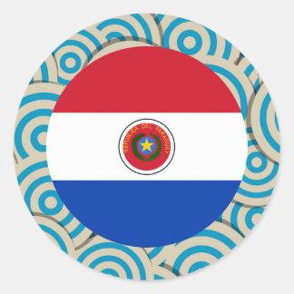 Diversión llenada, bandera redonda de Paraguay Pegatina Redonda