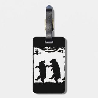 Diversión que baila osos negros de la silueta etiquetas para maletas