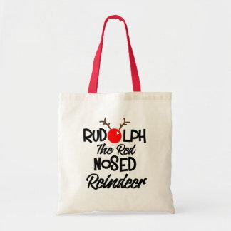 Diversión Rudolph el gráfico sospechado rojo de Bolso De Tela