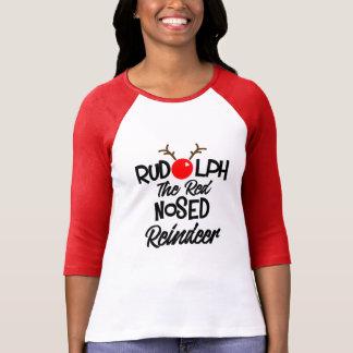 Diversión Rudolph el gráfico sospechado rojo de Camiseta