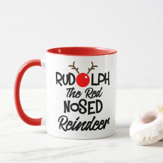 Diversión Rudolph el gráfico sospechado rojo de Taza