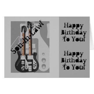 Diversión, saludo para un yerno, guitarra del tarjeta de felicitación