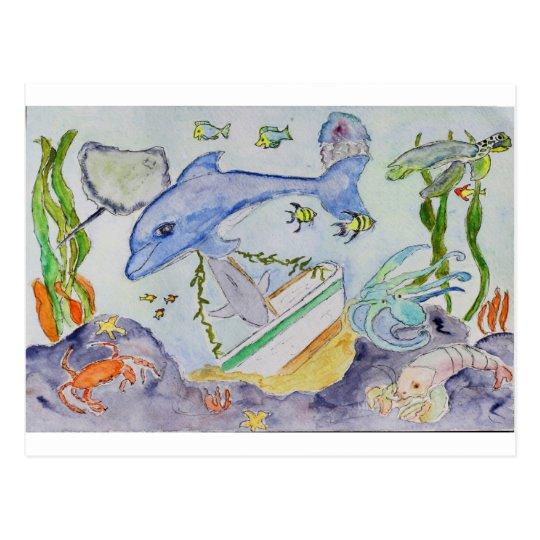 Diversión subacuática postal