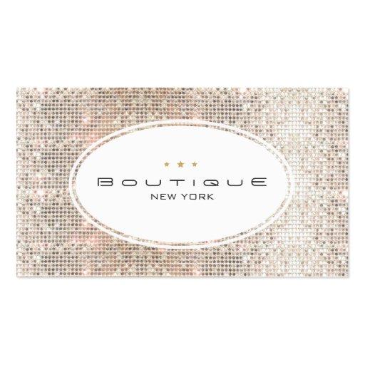Diversión y lentejuelas de plata del boutique lind tarjetas de visita
