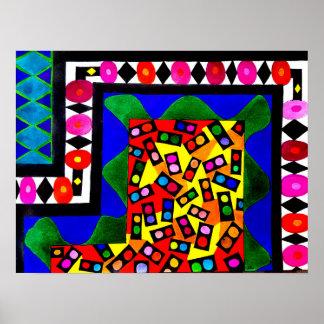 Diversos formas y tamaños - dibujo abstracto póster