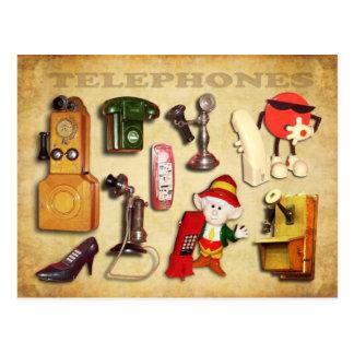 Diversos teléfonos - vintage y moderno postal