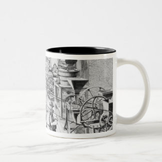 Diversos tipos de maquinaria agrícola tazas de café