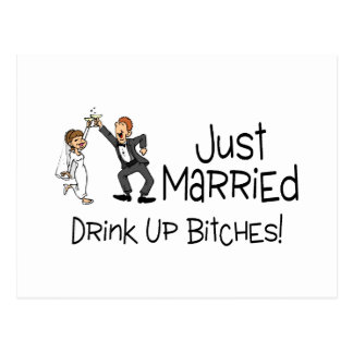 Divertido apenas casado casando la tostada postal