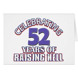 Divertido celebrando 52 años de infierno de tarjeta de felicitación