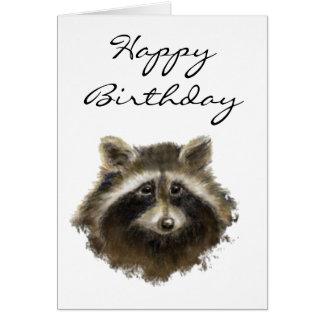 Divertido, edad avanzada, humor, mapache del cumpl tarjeta de felicitación
