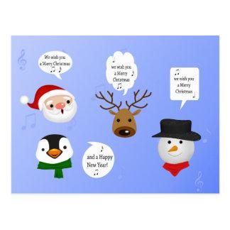 Divertido le deseamos las Felices Navidad - postal