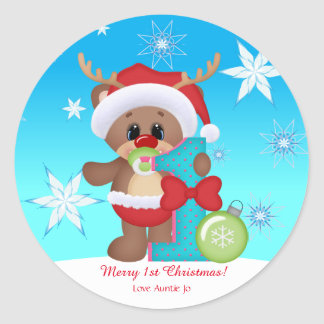 Divertido lindo del 1r reno del navidad del bebé pegatina redonda