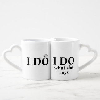 "Divertido personalizado ""hago"" boda o aniversario set de tazas de café"