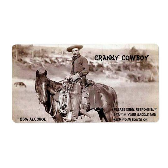Divertido, vintage, vaquero, etiqueta de encargo