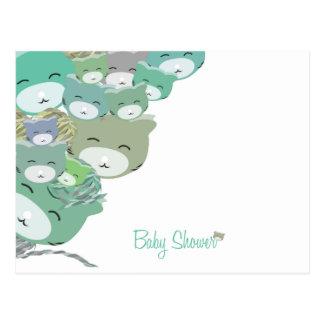 Divertidos gatitos infantiles azules,baby shower postal