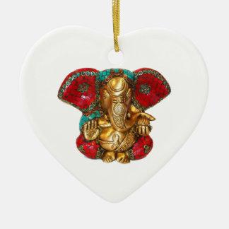 DIWALI felices - Gracias GANAPATI Ganesh Adorno Navideño De Cerámica En Forma De Corazón