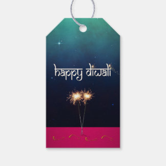 Diwali feliz chispeante - etiqueta del regalo