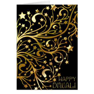 Diwali feliz elegante protagoniza el oro negro tarjeta